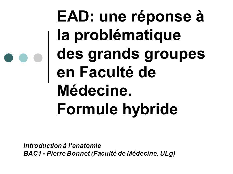 EAD: une réponse à la problématique des grands groupes en Faculté de Médecine. Formule hybride Introduction à lanatomie BAC1 - Pierre Bonnet (Faculté