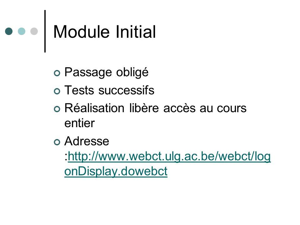 Module Initial Passage obligé Tests successifs Réalisation libère accès au cours entier Adresse :http://www.webct.ulg.ac.be/webct/log onDisplay.dowebcthttp://www.webct.ulg.ac.be/webct/log onDisplay.dowebct