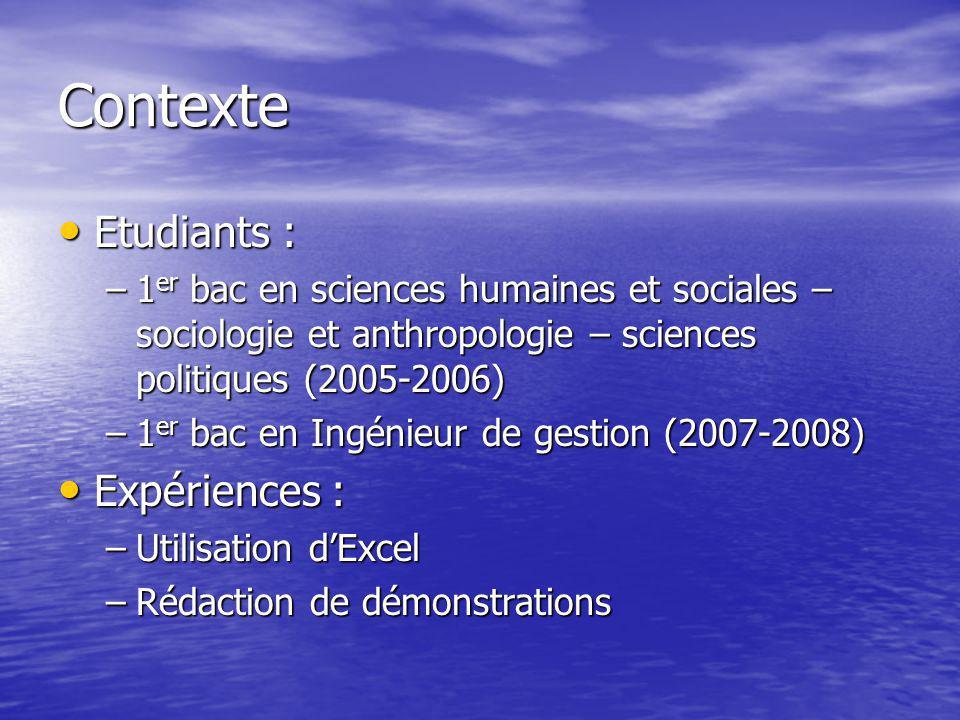 Contexte Etudiants : Etudiants : –1 er bac en sciences humaines et sociales – sociologie et anthropologie – sciences politiques (2005-2006) –1 er bac