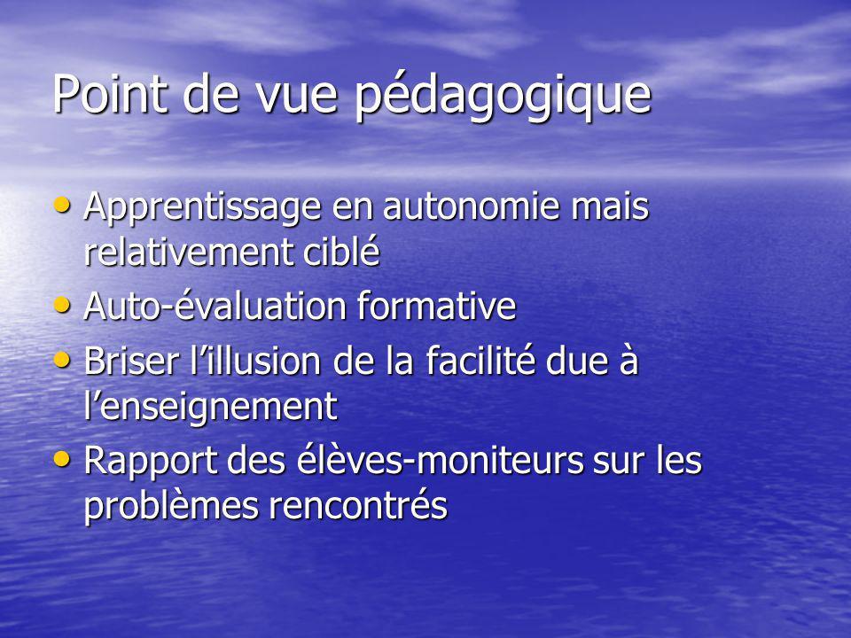 Point de vue pédagogique Apprentissage en autonomie mais relativement ciblé Apprentissage en autonomie mais relativement ciblé Auto-évaluation formati