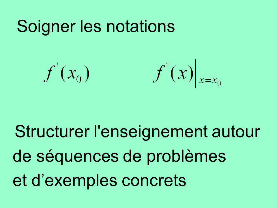 Soigner les notations Structurer l'enseignement autour de séquences de problèmes et dexemples concrets