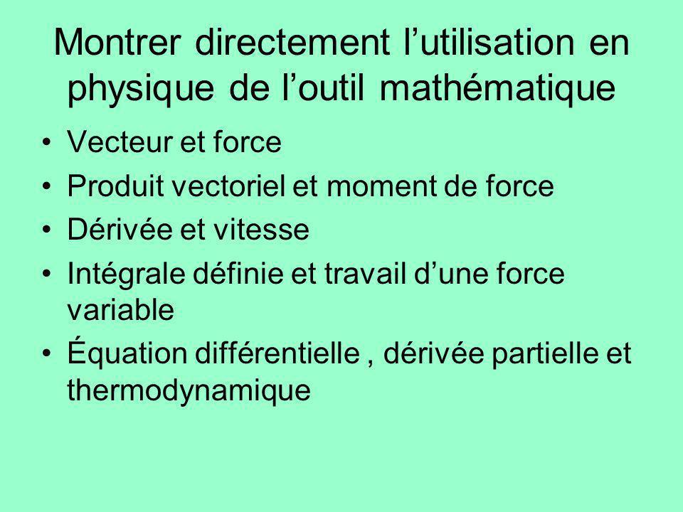Montrer directement lutilisation en physique de loutil mathématique Vecteur et force Produit vectoriel et moment de force Dérivée et vitesse Intégrale