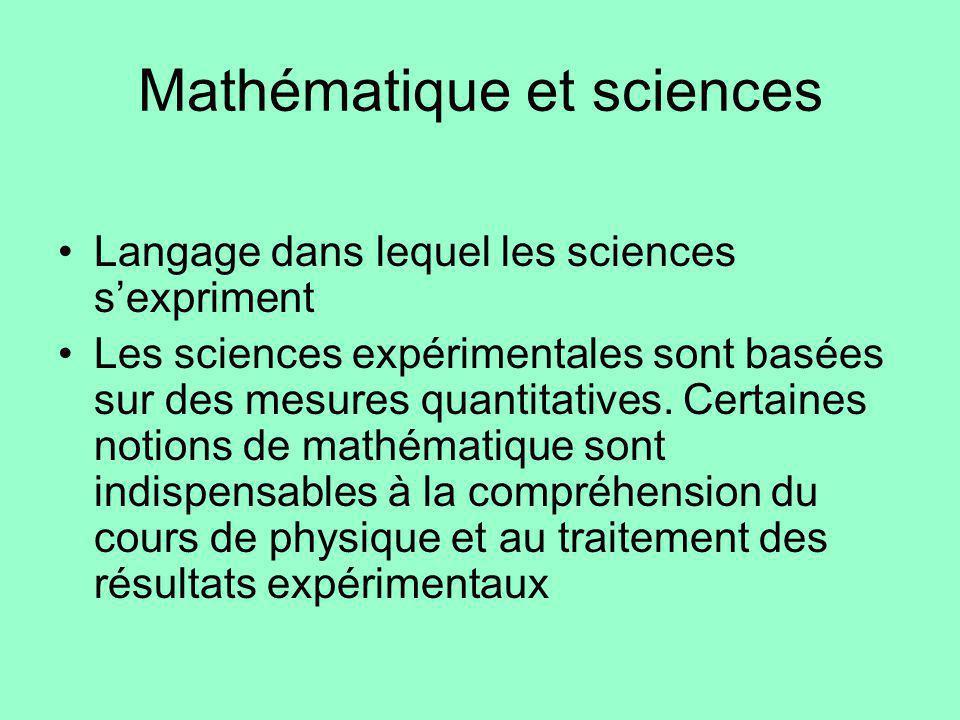 Mathématique et sciences Langage dans lequel les sciences sexpriment Les sciences expérimentales sont basées sur des mesures quantitatives. Certaines
