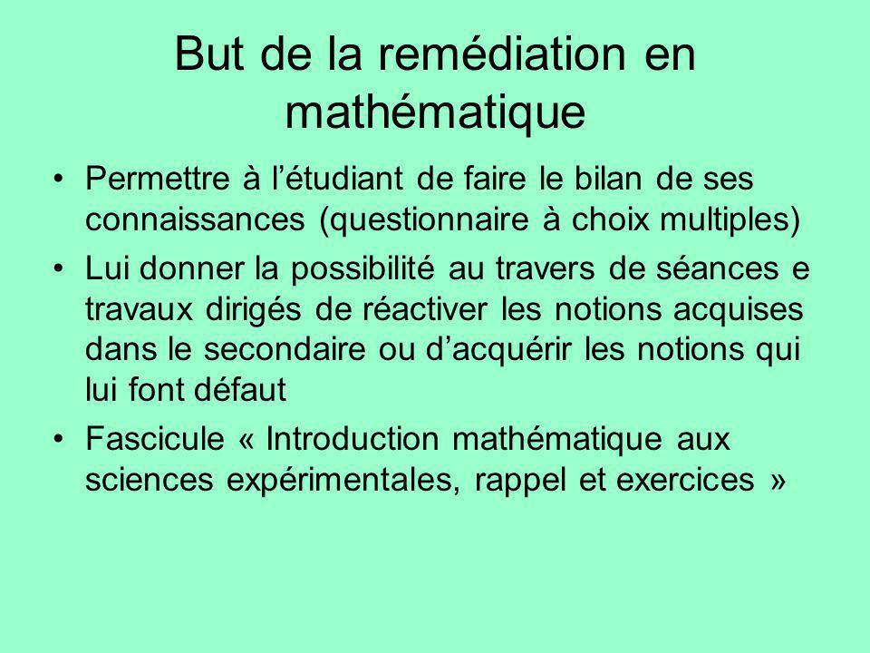 But de la remédiation en mathématique Permettre à létudiant de faire le bilan de ses connaissances (questionnaire à choix multiples) Lui donner la pos