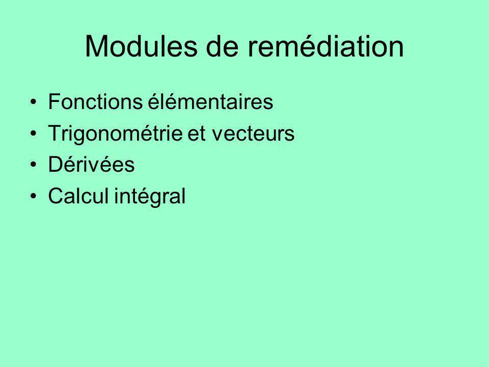 Modules de remédiation Fonctions élémentaires Trigonométrie et vecteurs Dérivées Calcul intégral