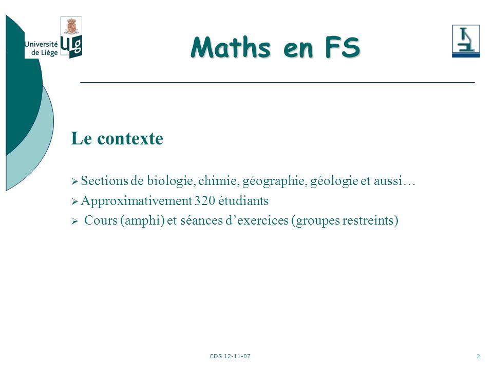 CDS 12-11-073 Maths en FS Difficultés rencontrées 1.