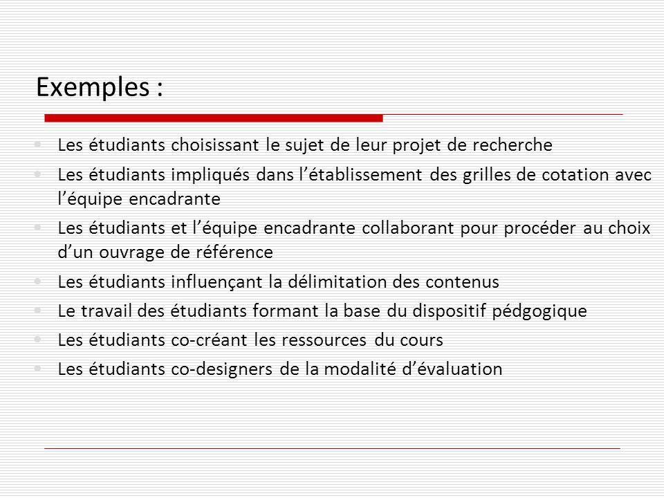 Exemples : Les étudiants choisissant le sujet de leur projet de recherche Les étudiants impliqués dans létablissement des grilles de cotation avec léq