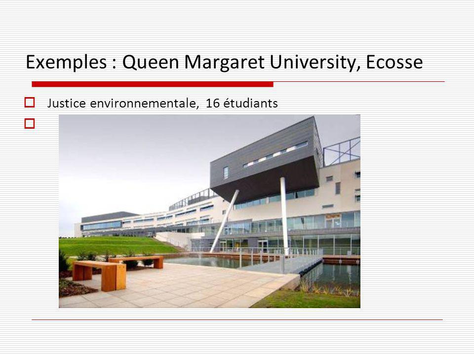 Exemples : Queen Margaret University, Ecosse Justice environnementale, 16 étudiants