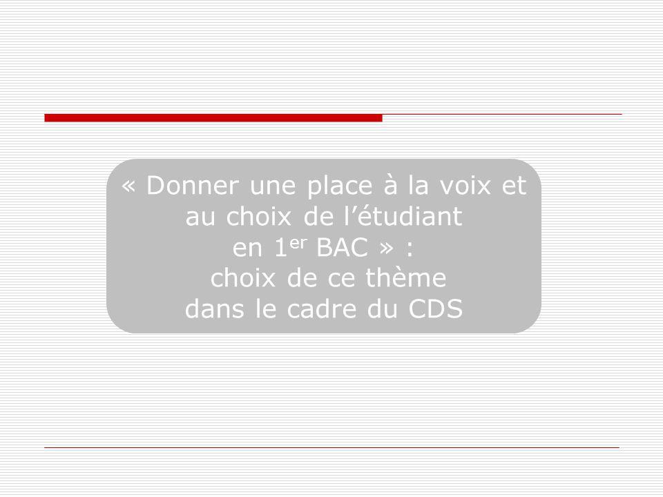 « Donner une place à la voix et au choix de létudiant en 1 er BAC » : choix de ce thème dans le cadre du CDS