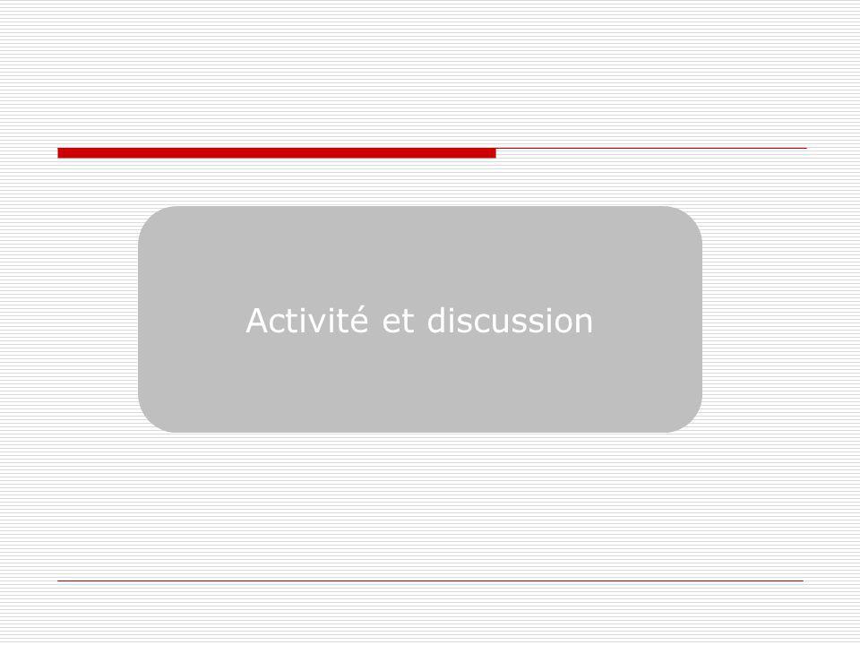 Activité et discussion