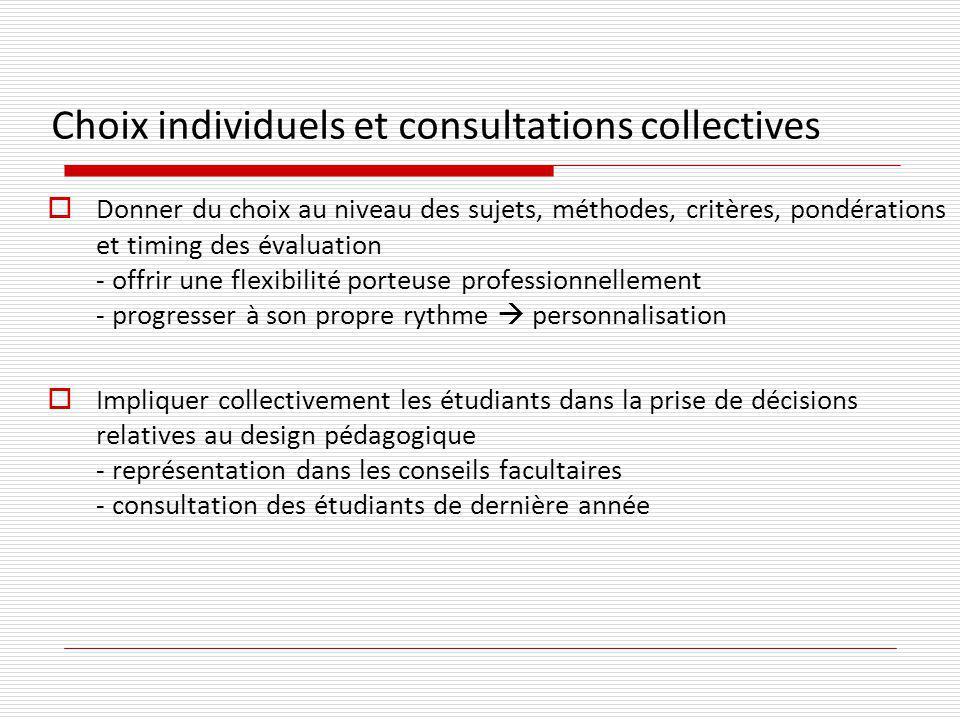 Choix individuels et consultations collectives Donner du choix au niveau des sujets, méthodes, critères, pondérations et timing des évaluation - offri