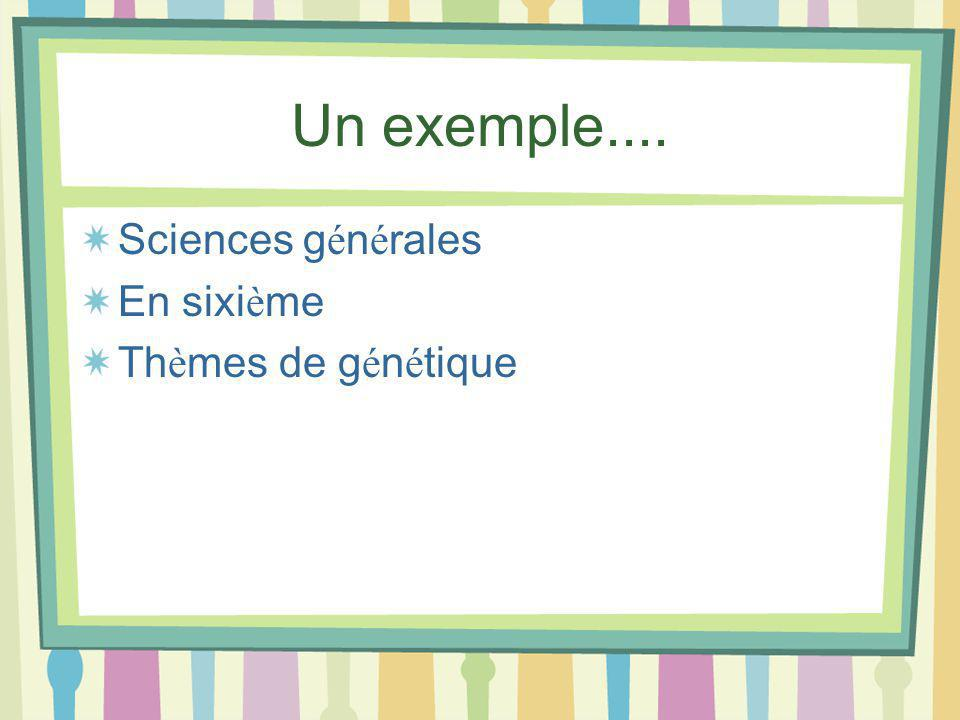 Un exemple.... Sciences g é n é rales En sixi è me Th è mes de g é n é tique