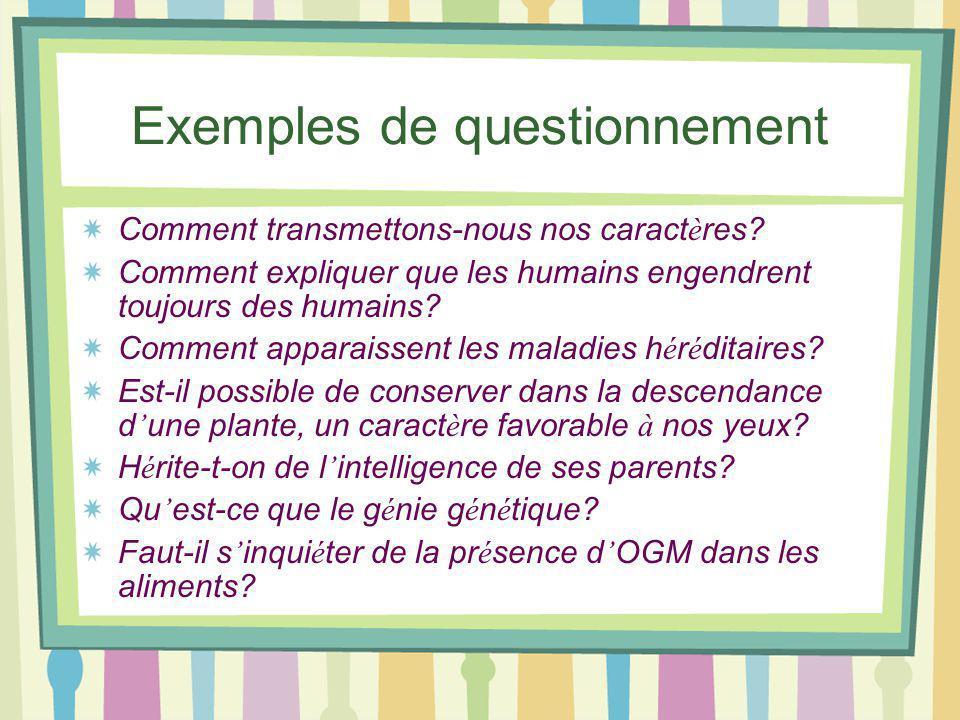 Exemples de questionnement Comment transmettons-nous nos caract è res.