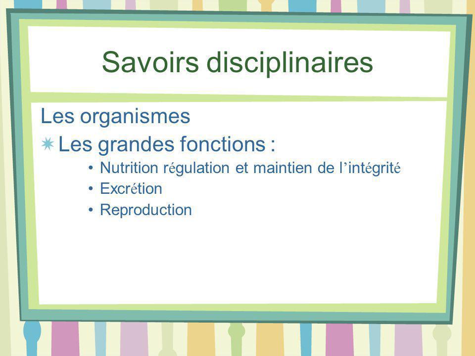 Savoirs disciplinaires Les organismes Les grandes fonctions : Nutrition r é gulation et maintien de l int é grit é Excr é tion Reproduction