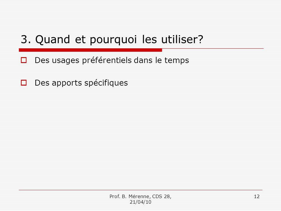 3. Quand et pourquoi les utiliser? Des usages préférentiels dans le temps Des apports spécifiques Prof. B. Mérenne, CDS 28, 21/04/10 12