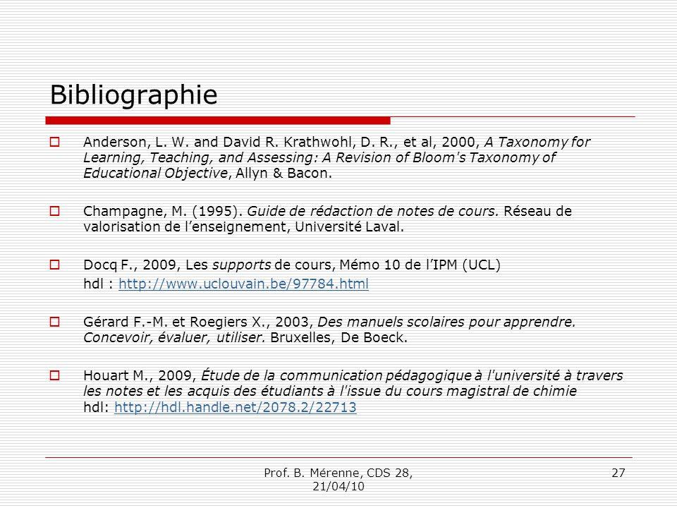 Bibliographie Anderson, L.W. and David R. Krathwohl, D.