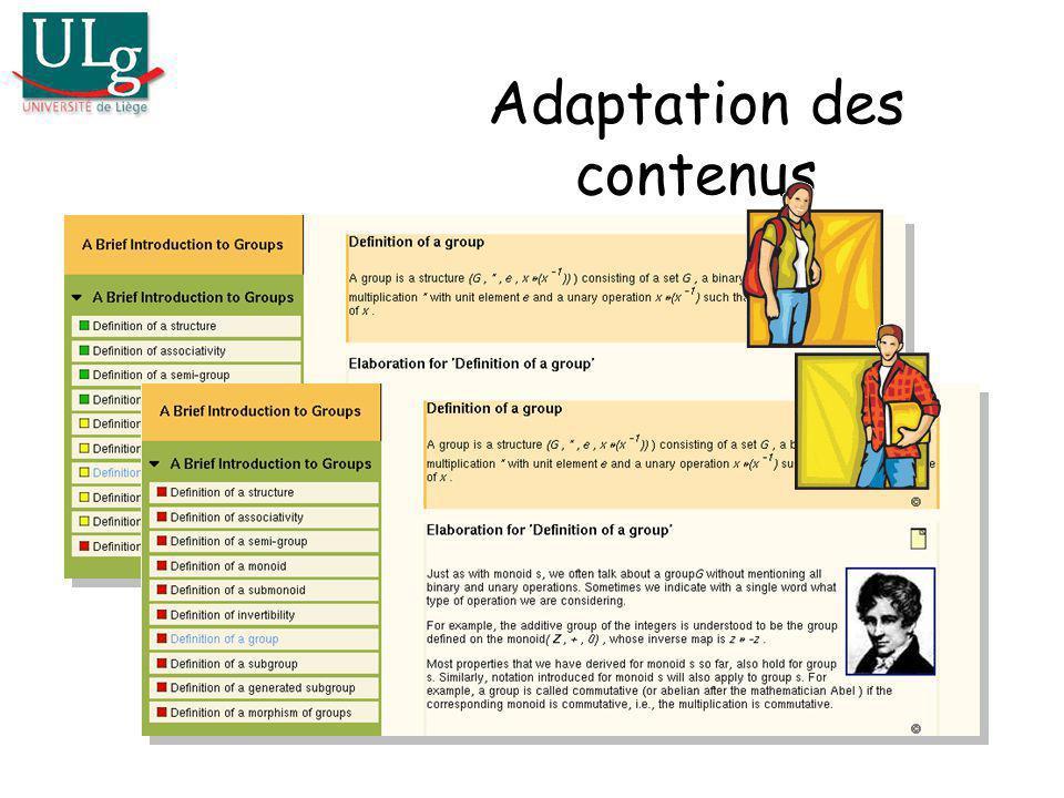 Adaptation des contenus