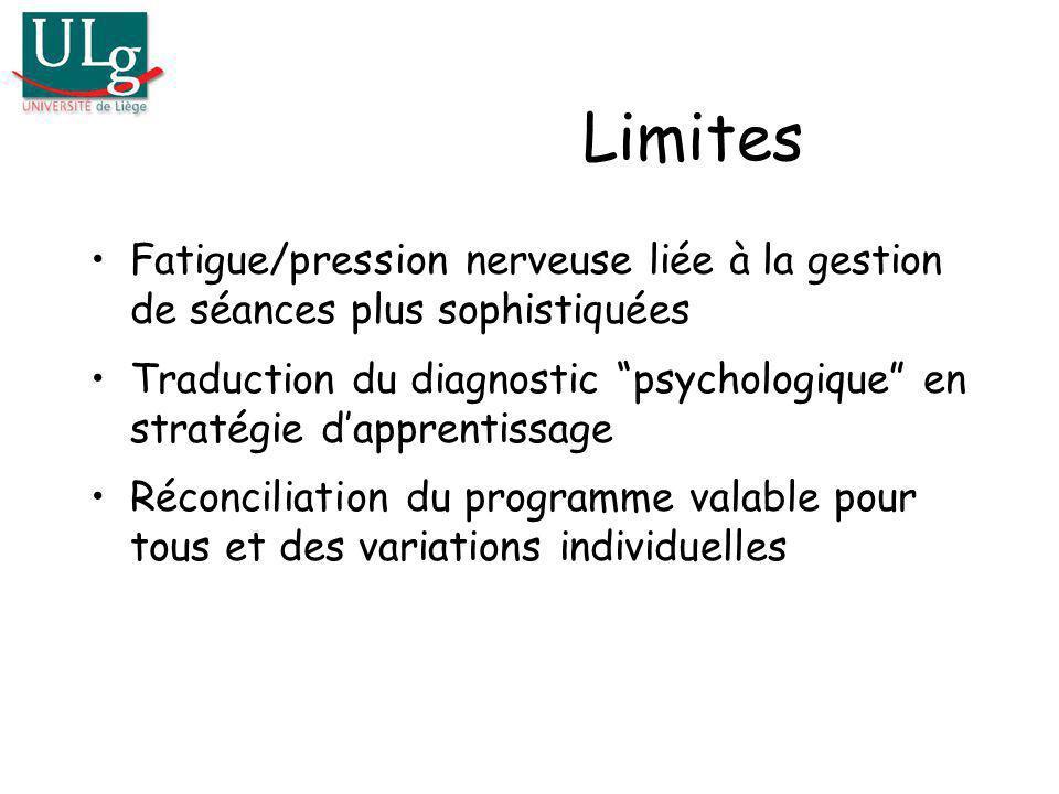 Limites Fatigue/pression nerveuse liée à la gestion de séances plus sophistiquées Traduction du diagnostic psychologique en stratégie dapprentissage R
