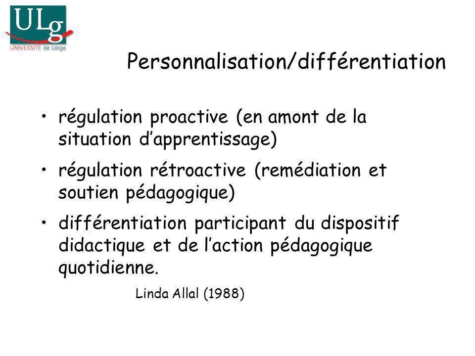 Personnalisation/différentiation régulation proactive (en amont de la situation dapprentissage) régulation rétroactive (remédiation et soutien pédagog