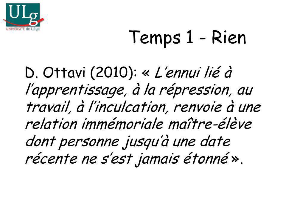 Temps 1 - Rien D. Ottavi (2010): « Lennui lié à lapprentissage, à la répression, au travail, à linculcation, renvoie à une relation immémoriale maître