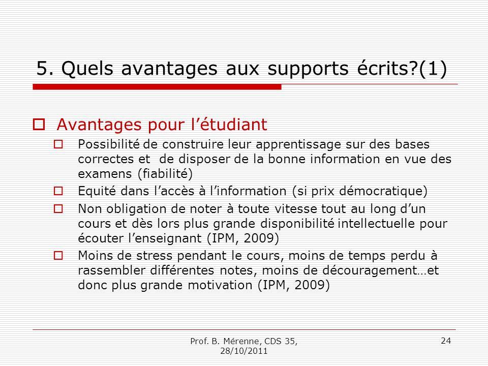 5. Quels avantages aux supports écrits?(1) Avantages pour létudiant Possibilité de construire leur apprentissage sur des bases correctes et de dispose