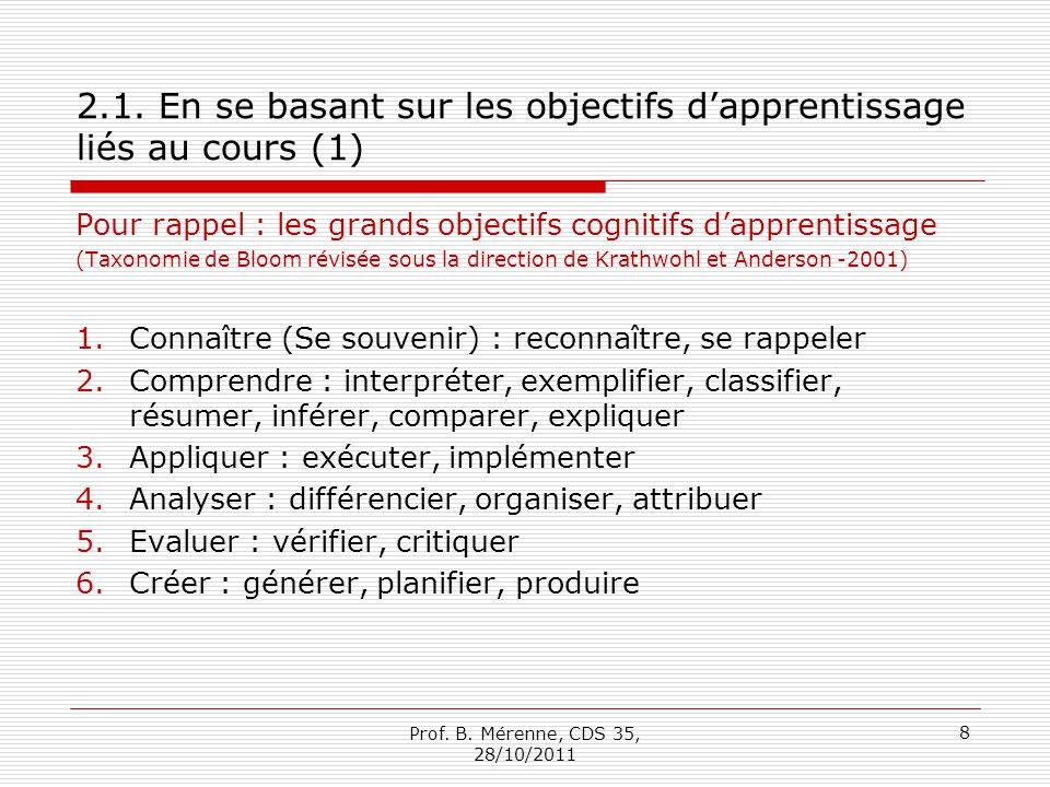 2.1. En se basant sur les objectifs dapprentissage liés au cours (1) Pour rappel : les grands objectifs cognitifs dapprentissage (Taxonomie de Bloom r