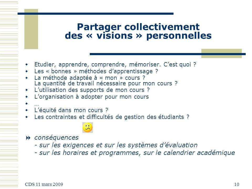 CDS 11 mars 2009 10 Partager collectivement des « visions » personnelles Etudier, apprendre, comprendre, mémoriser.