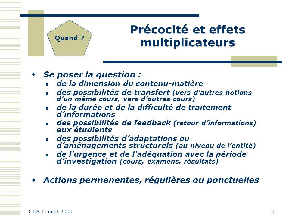 CDS 11 mars 2009 9 Précocité et effets multiplicateurs Quand .