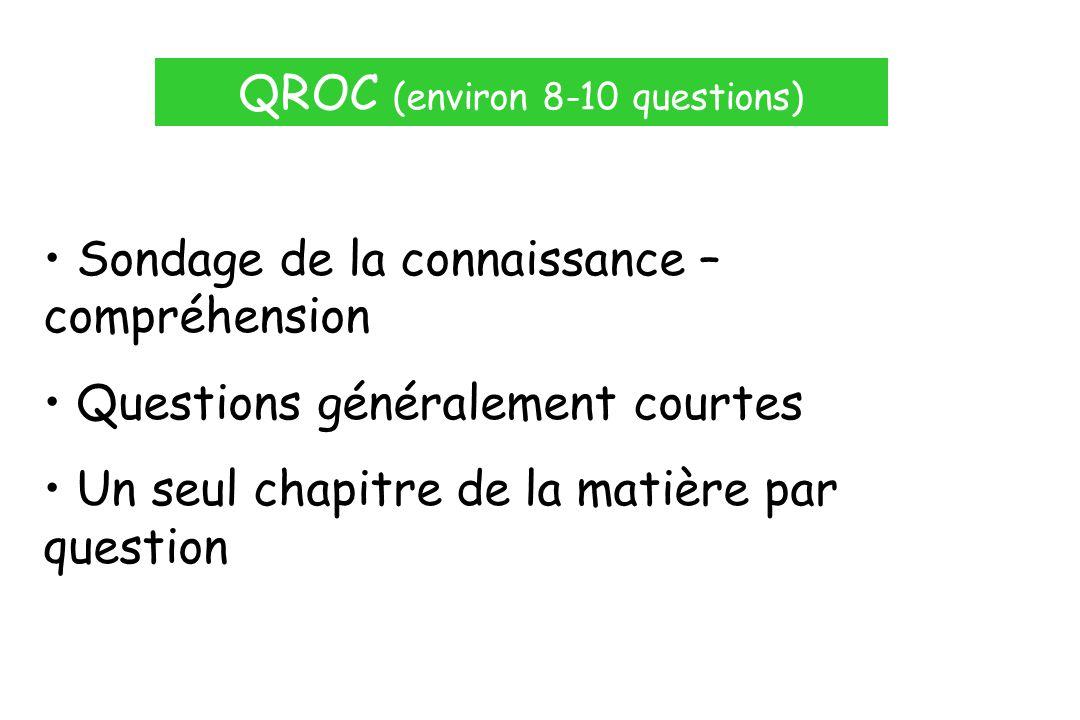 QROC (environ 8-10 questions) Sondage de la connaissance – compréhension Questions généralement courtes Un seul chapitre de la matière par question