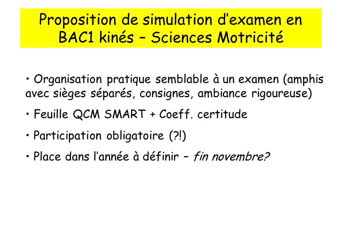 Proposition de simulation dexamen en BAC1 kinés – Sciences Motricité Organisation pratique semblable à un examen (amphis avec sièges séparés, consignes, ambiance rigoureuse) Feuille QCM SMART + Coeff.