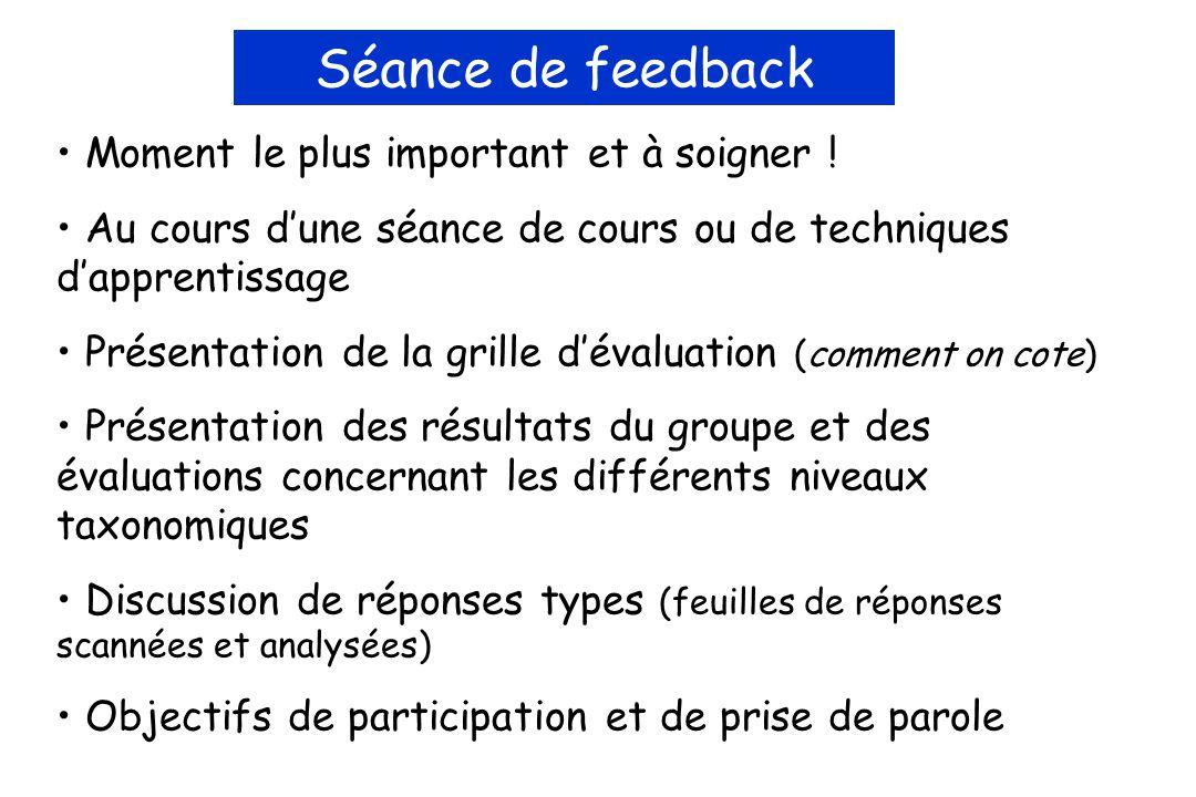 Séance de feedback Moment le plus important et à soigner .