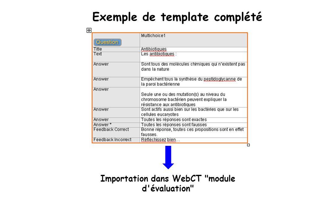 Exemple de template complété Importation dans WebCT module d évaluation