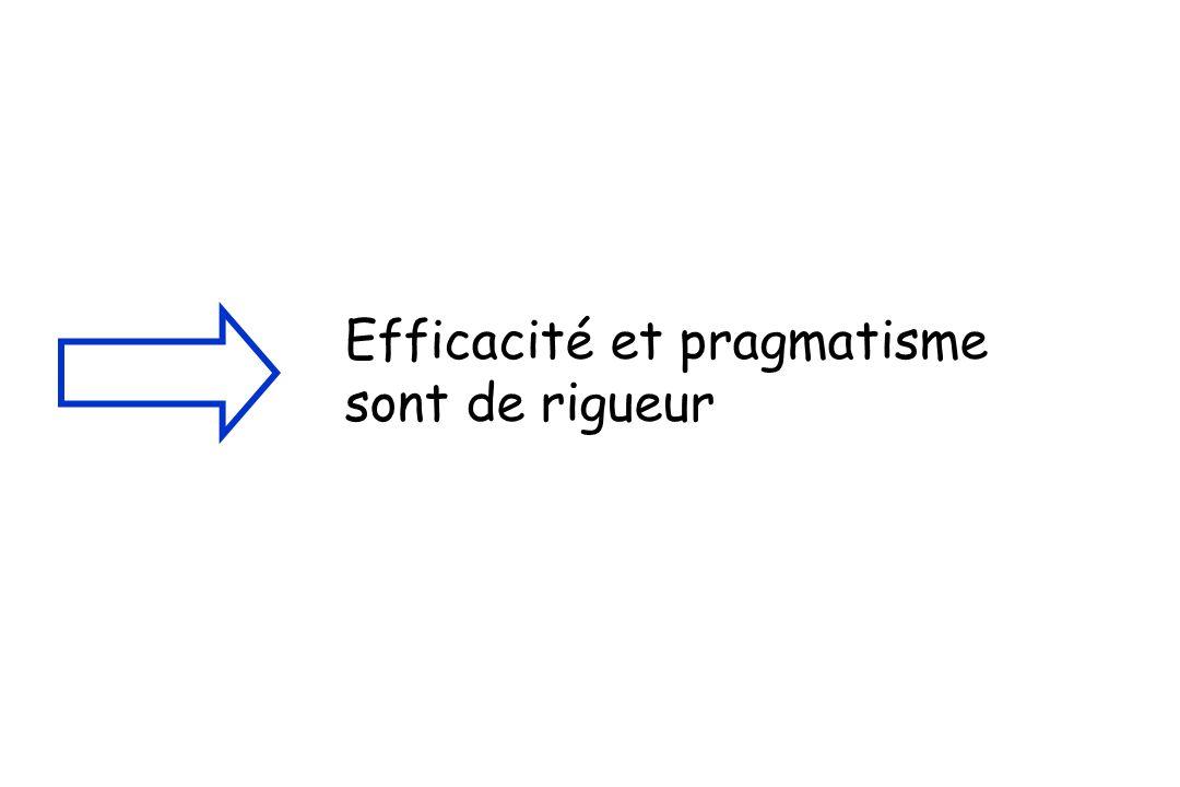 Efficacité et pragmatisme sont de rigueur