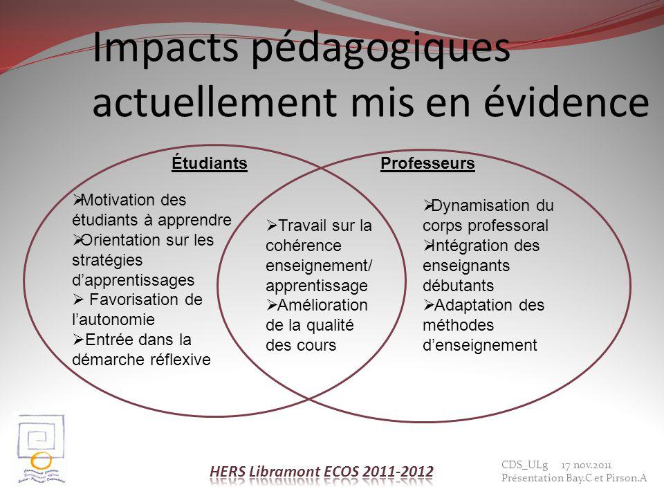 Impacts pédagogiques actuellement mis en évidence Dynamisation du corps professoral Intégration des enseignants débutants Adaptation des méthodes dens