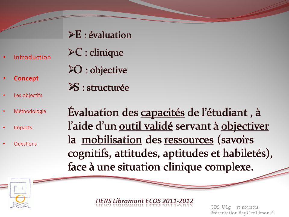 Caractéristiques de LECOS Introduction Concept Les objectifs Méthodologie Impacts Questions CDS_ULg 17 nov.2011 Présentation Bay.C et Pirson.A