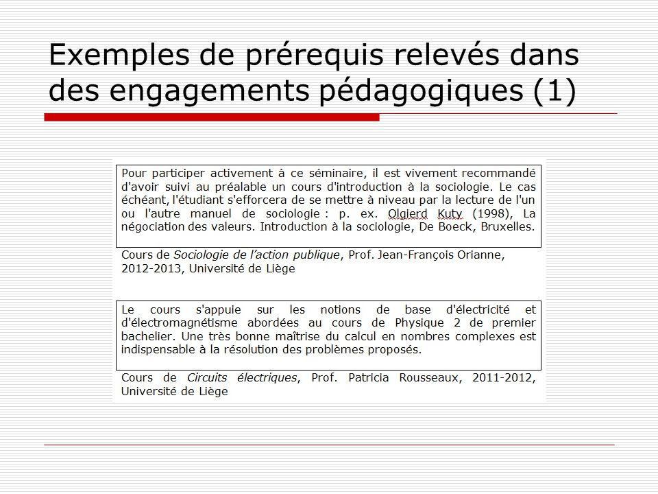 Exemples de prérequis relevés dans des engagements pédagogiques (1)