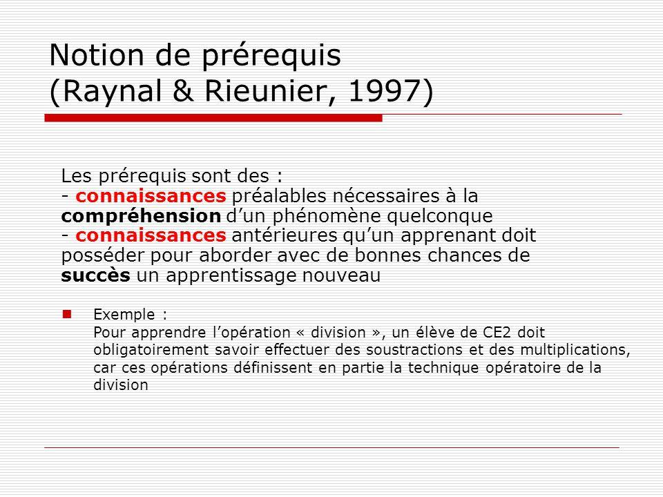 Notion de prérequis (Raynal & Rieunier, 1997) Les prérequis sont des : - connaissances préalables nécessaires à la compréhension dun phénomène quelcon