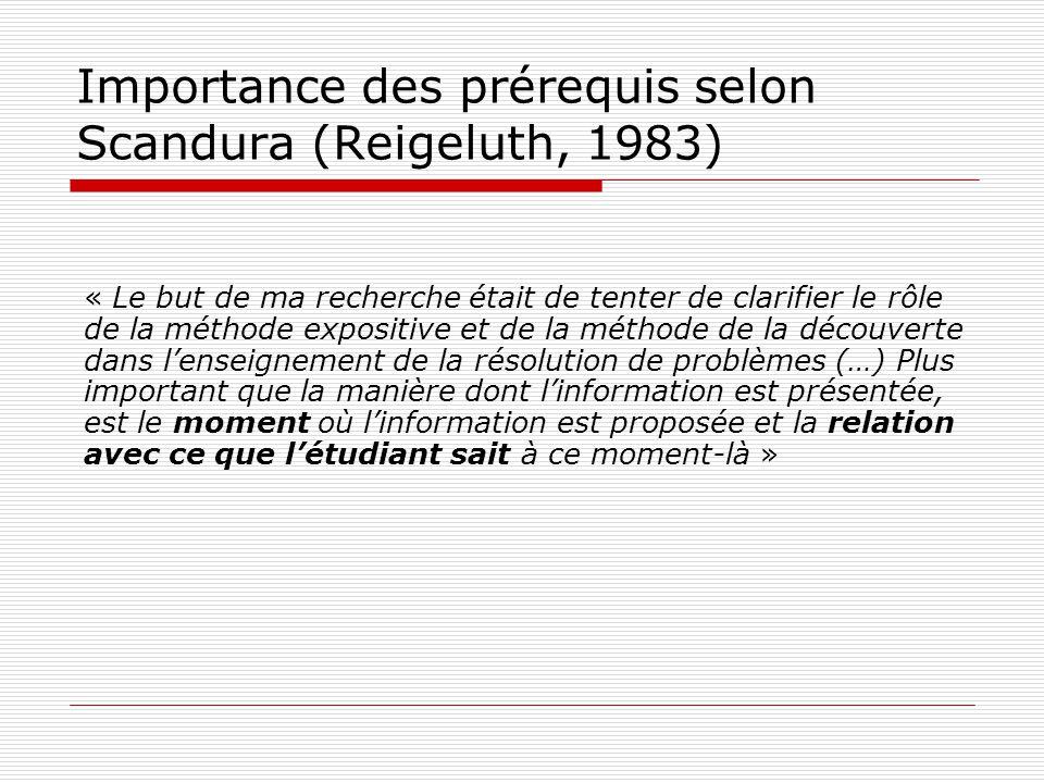 Importance des prérequis selon Scandura (Reigeluth, 1983) « Le but de ma recherche était de tenter de clarifier le rôle de la méthode expositive et de