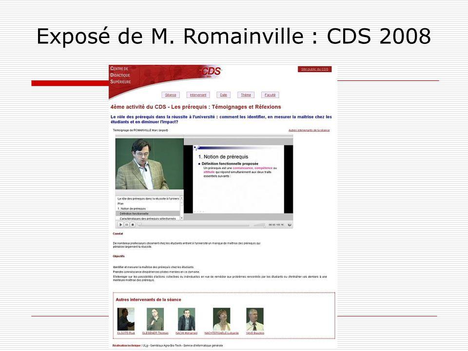 Exposé de M. Romainville : CDS 2008