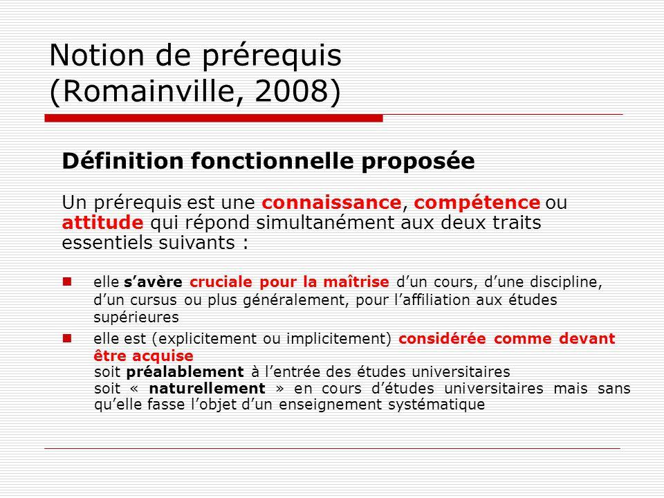 Notion de prérequis (Romainville, 2008) Définition fonctionnelle proposée Un prérequis est une connaissance, compétence ou attitude qui répond simulta