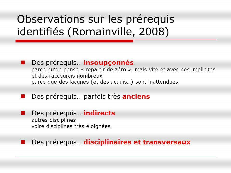 Observations sur les prérequis identifiés (Romainville, 2008) Des prérequis… insoupçonnés parce quon pense « repartir de zéro », mais vite et avec des