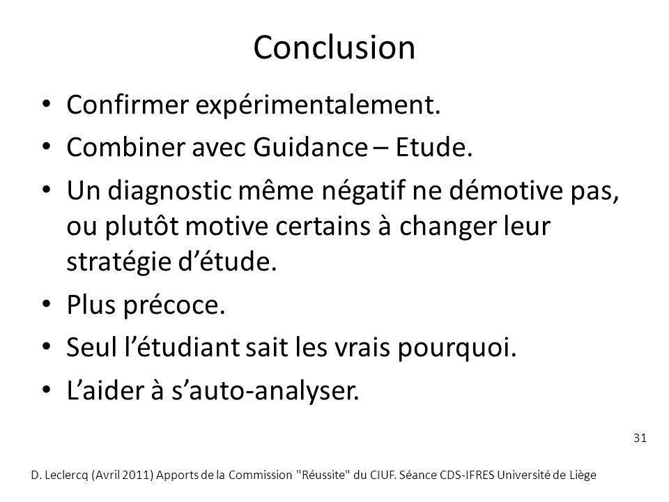 31 Conclusion Confirmer expérimentalement. Combiner avec Guidance – Etude. Un diagnostic même négatif ne démotive pas, ou plutôt motive certains à cha