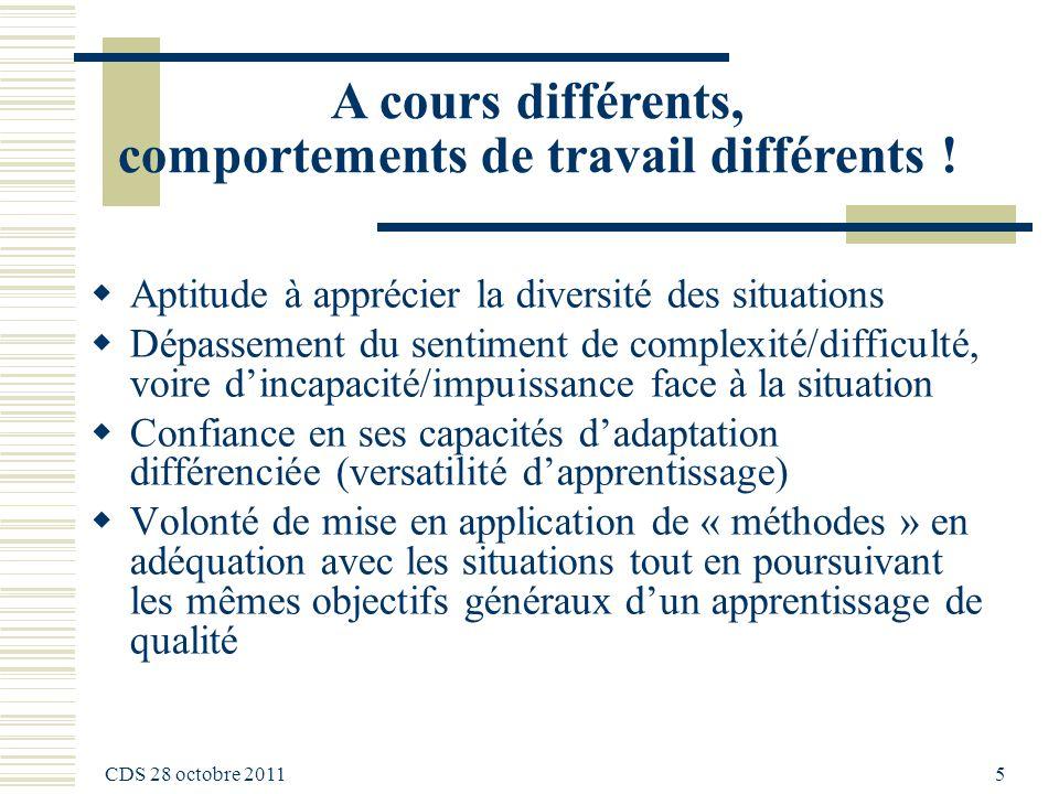 CDS 28 octobre 2011 5 A cours différents, comportements de travail différents .