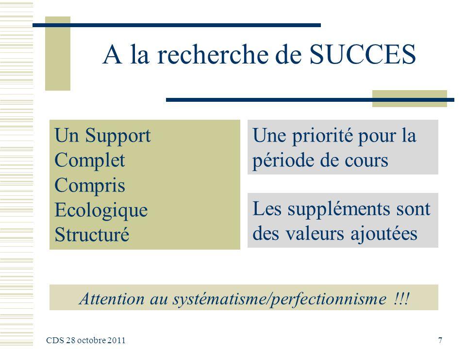 A la recherche de SUCCES Attention au systématisme/perfectionnisme !!.