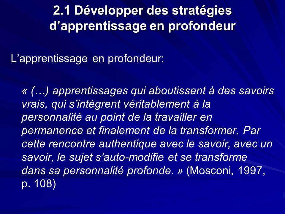 2.1 Développer des stratégies dapprentissage en profondeur Lapprentissage en profondeur: « (…) apprentissages qui aboutissent à des savoirs vrais, qui sintègrent véritablement à la personnalité au point de la travailler en permanence et finalement de la transformer.