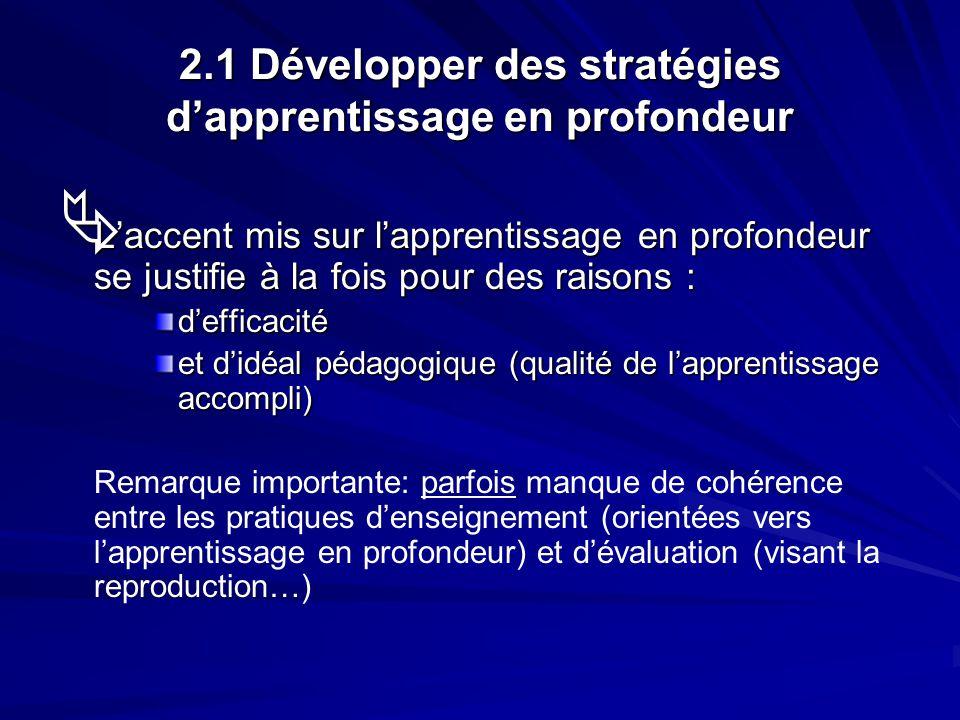 2.1 Développer des stratégies dapprentissage en profondeur Laccent mis sur lapprentissage en profondeur se justifie à la fois pour des raisons : Lacce