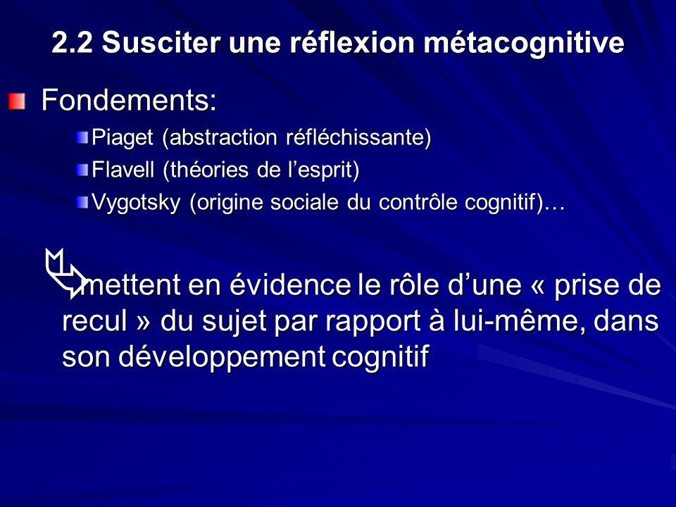 2.2 Susciter une réflexion métacognitive Fondements: Fondements: Piaget (abstraction réfléchissante) Flavell (théories de lesprit) Vygotsky (origine sociale du contrôle cognitif)… mettent en évidence le rôle dune « prise de recul » du sujet par rapport à lui-même, dans son développement cognitif mettent en évidence le rôle dune « prise de recul » du sujet par rapport à lui-même, dans son développement cognitif