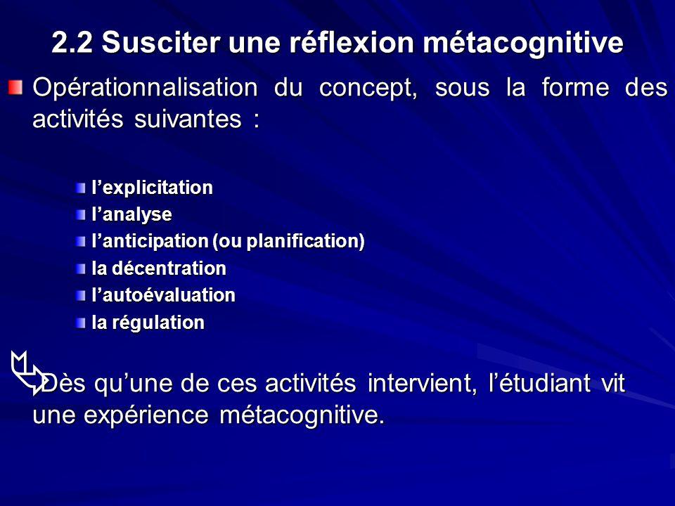 2.2 Susciter une réflexion métacognitive Opérationnalisation du concept, sous la forme des activités suivantes : lexplicitationlanalyse lanticipation
