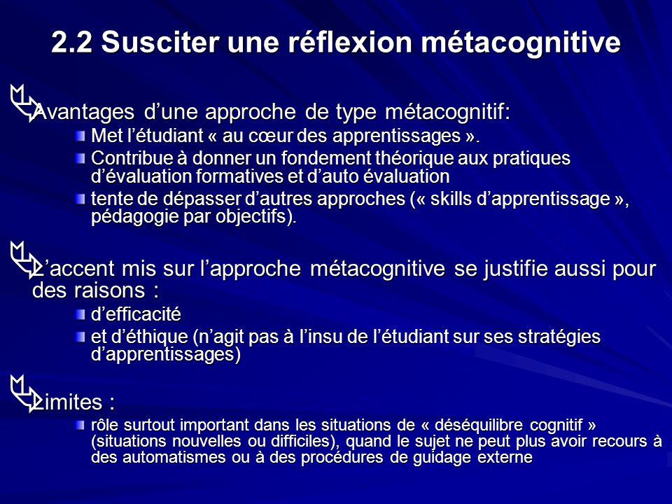 2.2 Susciter une réflexion métacognitive Avantages dune approche de type métacognitif: Avantages dune approche de type métacognitif: Met létudiant « a