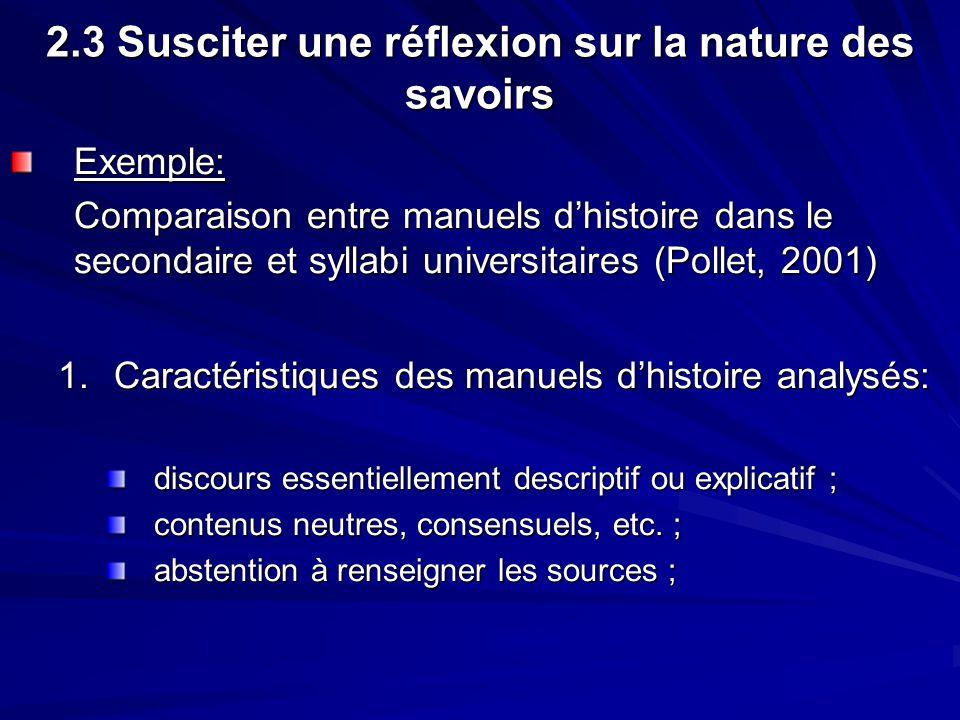 2.3 Susciter une réflexion sur la nature des savoirs Exemple: Comparaison entre manuels dhistoire dans le secondaire et syllabi universitaires (Pollet